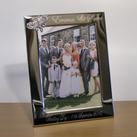 Crystal Butterfly Photo Frame Personalised Wedding Gift